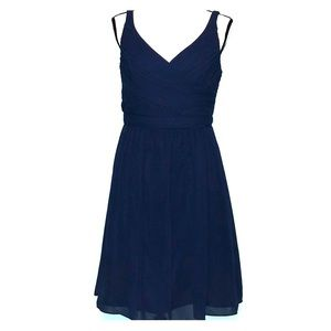 Navy blue v-neck chiffon mesh crinkle dress 8
